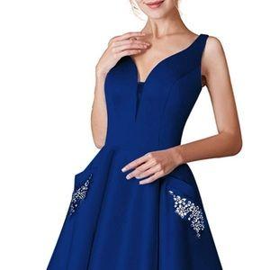 6, Royal blue V-Neck Homecoming Dress